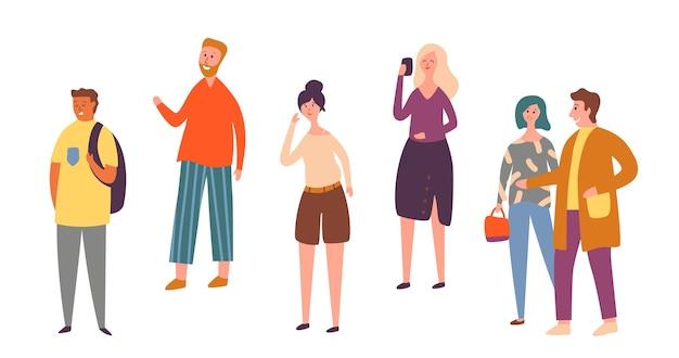 Insieme isolato di posa del carattere di varie persone. folla di persone urbane parlando smartphone. lavoratore occasionale in piedi da solo. illustrazione piana di vettore del fumetto della raccolta all'aperto della donna alla moda adulta