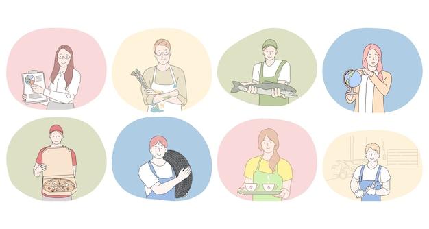 Varie professioni e concetto di occupazione. persone specialista di marketing professionale, artista, venditore di pesce, insegnante di geografia, fattorino di pizza, operaio di pneumatici, cameriera, operaio o riparatore durante il lavoro