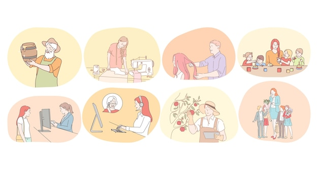 Varie professioni e concetto di occupazione.