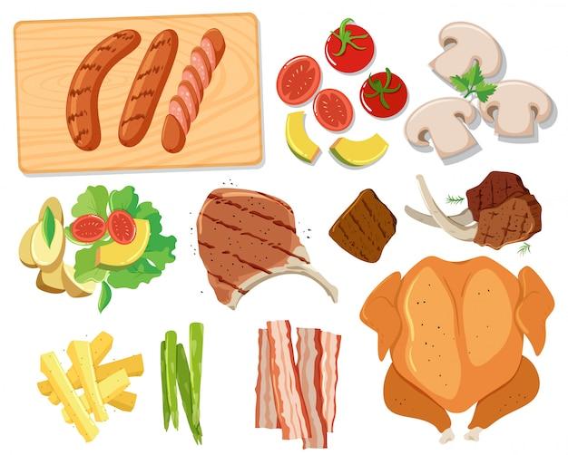 Vari set di cibo barbecue