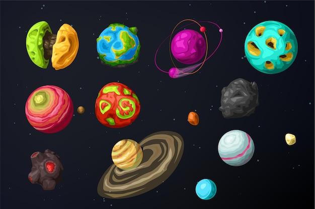 Vari pianeti alieni di forma e colore ambientati nello spazio buio