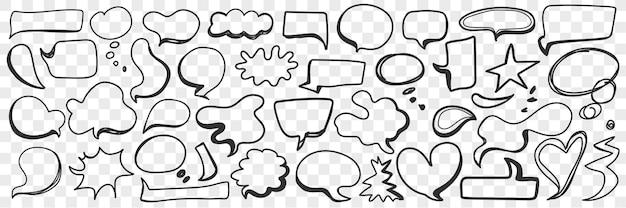 Varie forme di bolla di chat doodle insieme. raccolta di bolle di chat di comunicazione messaggio disegnato a mano in forme di nuvola di cuore e altri isolati