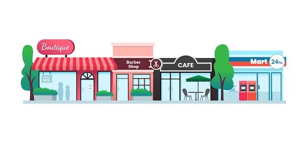 Vari negozi e facciate di edifici di negozi, design piatto, illustrazione vettoriale