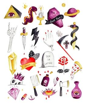 Vari elementi del tatuaggio doodle vettore dell'acquerello Vettore Premium