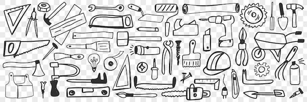 Vari strumenti per la riparazione insieme di doodle. raccolta di disegnati a mano trapano martello sega pinze cacciavite a bussola isolato.