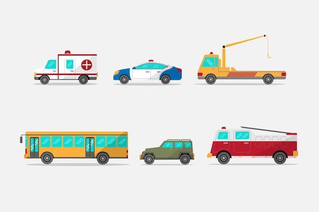 Vari trasporti in design piatto