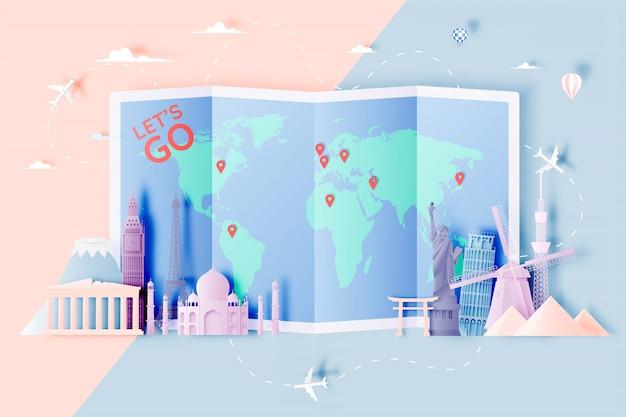 Varie attrazioni di viaggio in stile arte cartacea