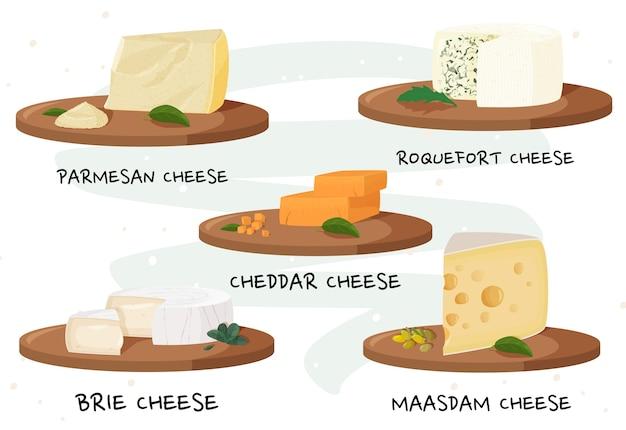 Vari tipi di formaggio.