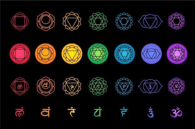 Vari tipi di coloratissimi set di chakra