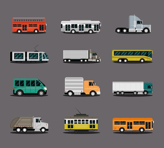 Vari tipi di veicoli, auto, camion, furgoni, autobus, camion e rimorchi, illustrazione vista laterale