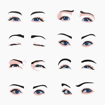 Vari tipi di occhi di donna.