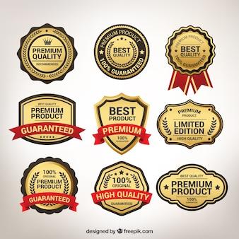 Vari adesivi d'oro d'epoca d'oro Vettore Premium