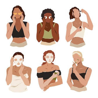Varie donne che usano prodotti per la cura della pelle che rimuovono il trucco applicano rituali di cura della pelle con siero o crema