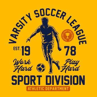 Grafica della maglietta varsity soccer