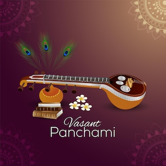 Vasant panchami background creativo con saraswati veena e libri