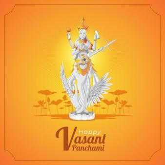 Vasant panchami biglietto di auguri con la statua della dea saraswati