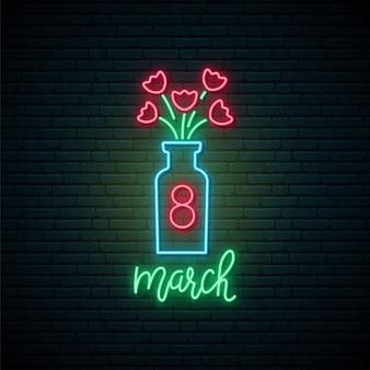 Vaso con insegna al neon di fiori.