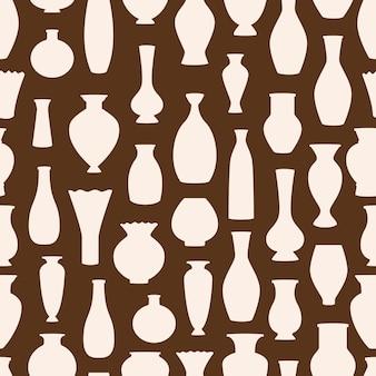 Modello senza cuciture di vettore delle siluette dei vasi. sfondo di ciotole antiche