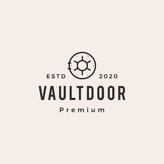 Vault door hipster logo vintage icona vettore illustrazione
