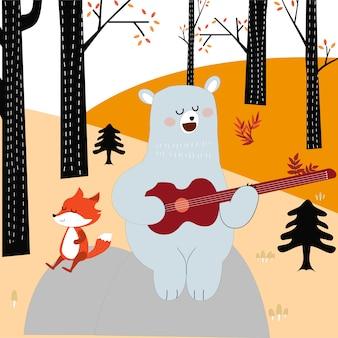 Vcute primavera estate volpe lupo e orsacchiotto suona la chitarra nella foresta