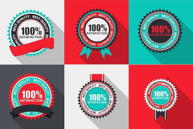 Vettore 100 etichetta di qualità di soddisfazione impostata in un design piatto moderno con una lunga ombra