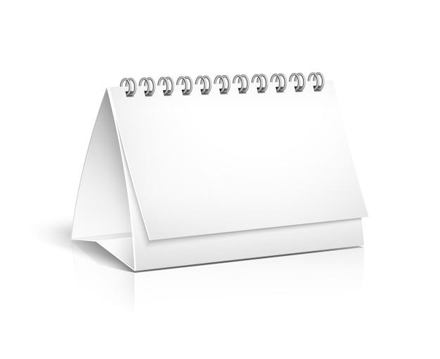 Vector 3d calendario da tavolo rilegato a spirale in bianco visualizzato in un angolo con copyspace per la tua immagine o pubblicità