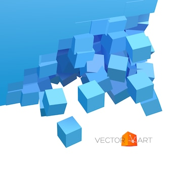 Esplosione 3d vettoriale con particelle cubiche
