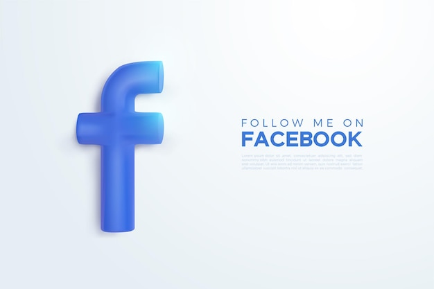 Vector 3d logo facebook in colore blu