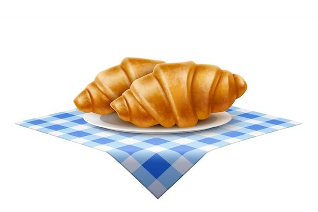 Piatto del croissant francese di vettore 3d alla tovaglia blu
