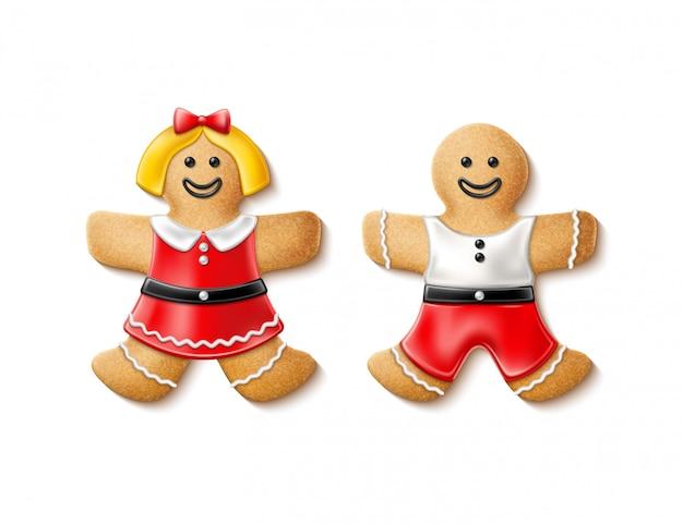 Natale realistico della donna dell'uomo di pan di zenzero di vettore 3d