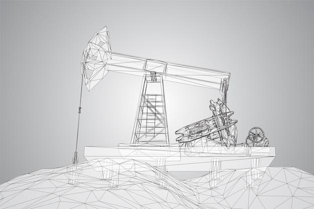 Piattaforme petrolifere 3d vettoriali da poligoni e linee
