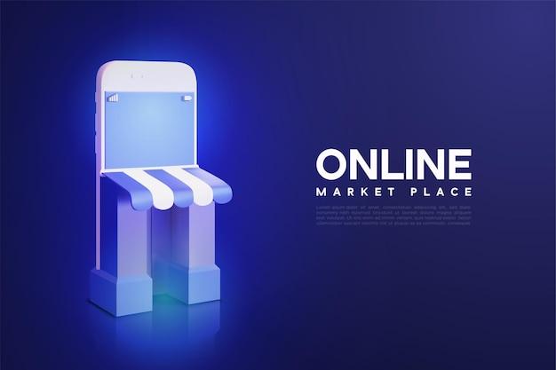 Acquisti online di vettore 3d con negozio di smartphone