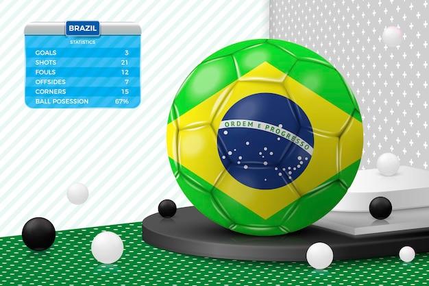Pallone da calcio realistico 3d vettoriale con tabellone segnapunti bandiera brasile isolato nella parete d'angolo