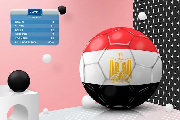 Pallone da calcio realistico 3d vettoriale con tabellone segnapunti bandiera egitto isolato nella parete d'angolo