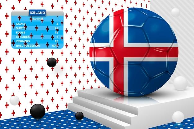 Pallone da calcio realistico 3d vettoriale con bandiera islandese, tabellone segnapunti, isolato nella scena astratta della parete d'angolo con podio, oggetti bianchi e neri.