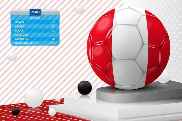 Pallone da calcio realistico di vettore 3d con il tabellone segnapunti della bandiera del perù isolato nella scena dell'estratto della parete d'angolo