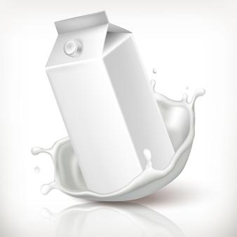 Insieme realistico di vettore 3d. cartone di latte e splash