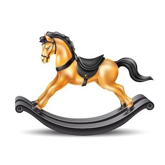 Vector il marmo dorato del cavallo a dondolo 3d su legno