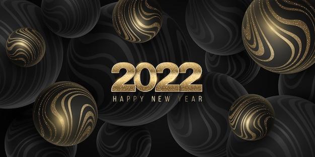 Sfere vettoriali 3d con motivo a strisce ondulate scintillanti d'oro per il nuovo anno 2022. sfondo di bolle
