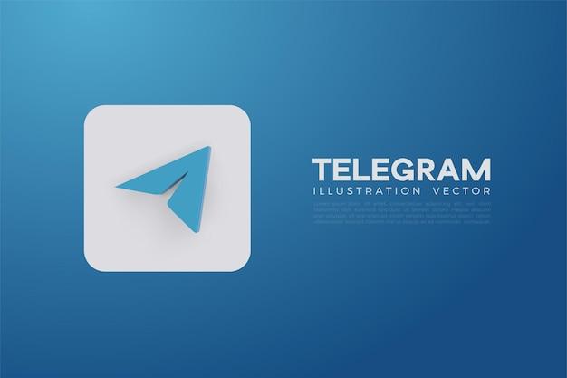 Telegramma 3d vettoriale su una tavola quadrata bianca