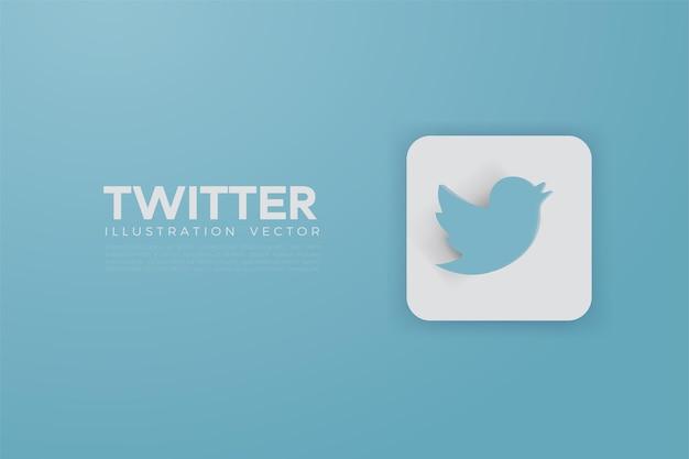 Twitter 3d di vettore sul bordo quadrato bianco