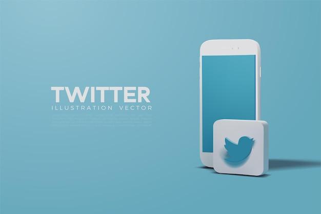 Twitter 3d vettoriale con smartphone bianco realistico