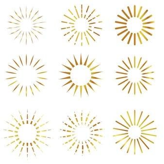 Vector 9 stile di sunburst, a sfondo bianco