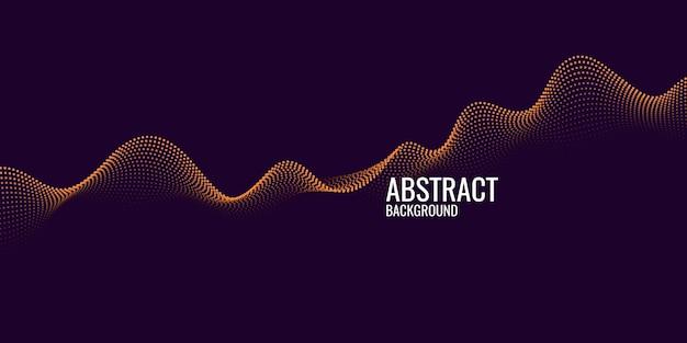 Sfondo astratto vettoriale con linea di onde dinamiche e particelle