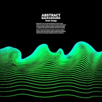 Sfondo astratto vettoriale con onde dinamiche di colore verde illustrazione vettoriale