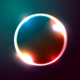 Bandiera astratta di vettore, modello di progettazione del manifesto con forma di cerchio luminoso.