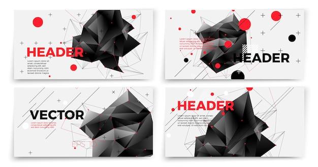 Set di modelli di banner astratti vettoriali, sfondo bianco con forme geometriche scure e posto per il testo.