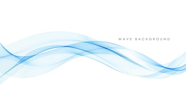 Linee di onda fluente colorato blu astratto di vettore isolate su priorità bassa bianca