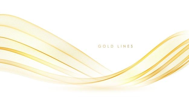 Linee d'onda d'oro fluenti colorate astratte di vettore isolate su elemento di design di sfondo bianco per mer...