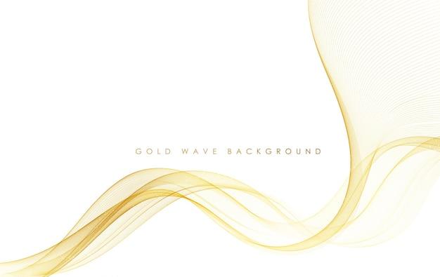 Linee d'onda d'oro fluenti colorate astratte di vettore isolate su elemento di design di sfondo bianco per biglietto di auguri di invito a nozze